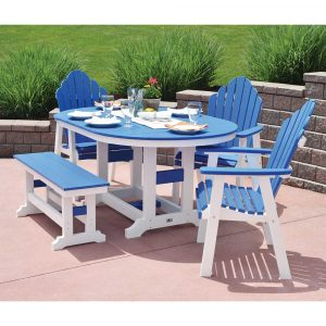 44-x-64-Oval-Garden-Classic-Table-and-Cozi-Back-Dining-Chairs-and-44-Inch-Garden-Classic-Bench---Pacific-Blue-on-White